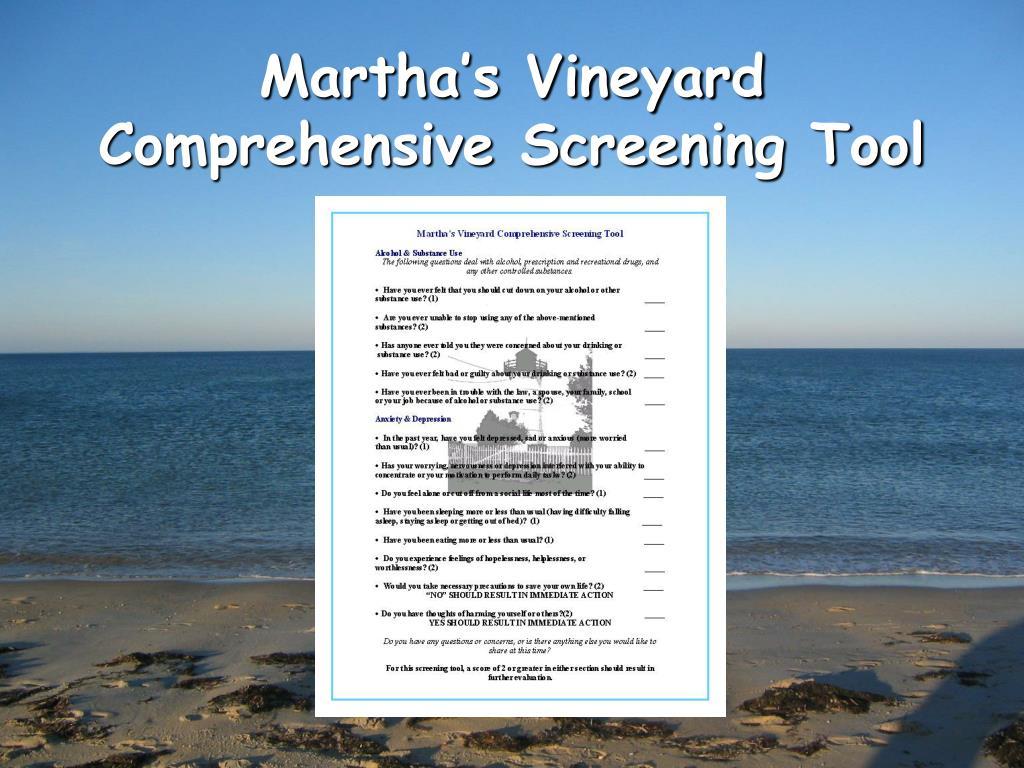Martha's Vineyard Comprehensive Screening Tool