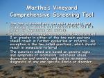 martha s vineyard comprehensive screening tool11