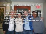 process of developing the tool9