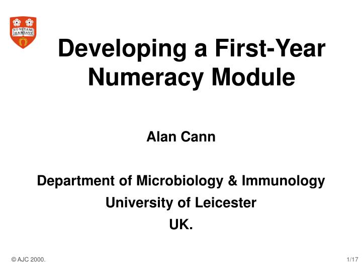 Developing a first year numeracy module