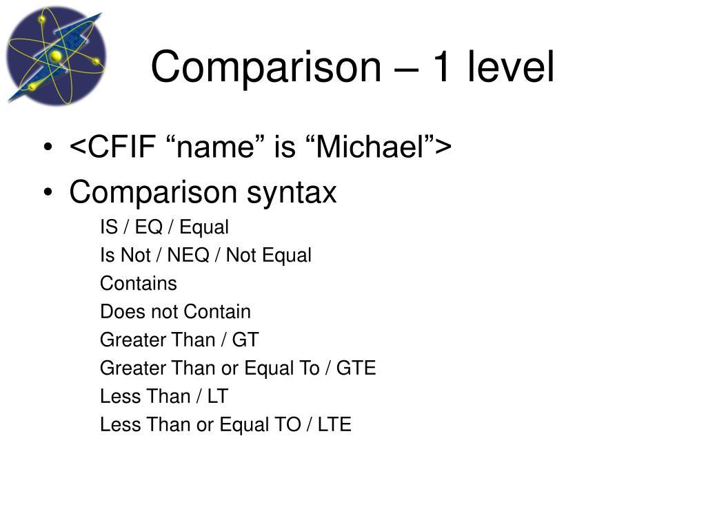 Comparison – 1 level