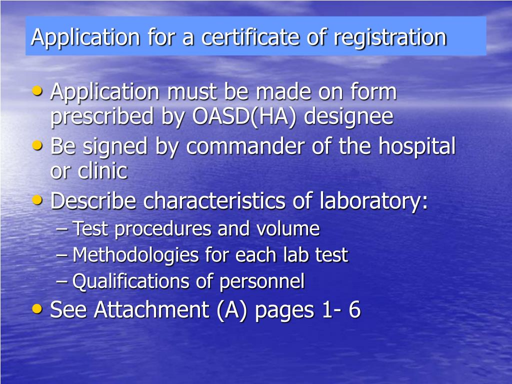 Application for a certificate of registration
