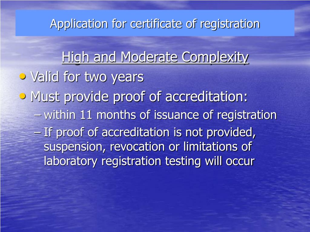 Application for certificate of registration