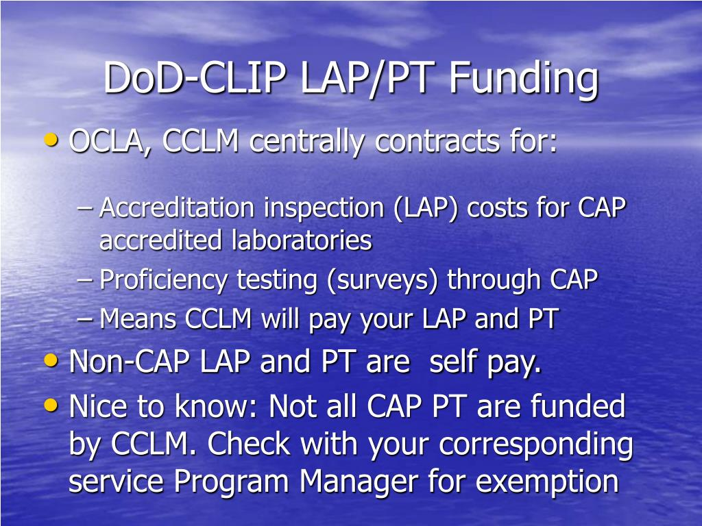 DoD-CLIP LAP/PT Funding