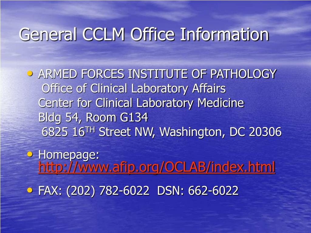 General CCLM Office Information