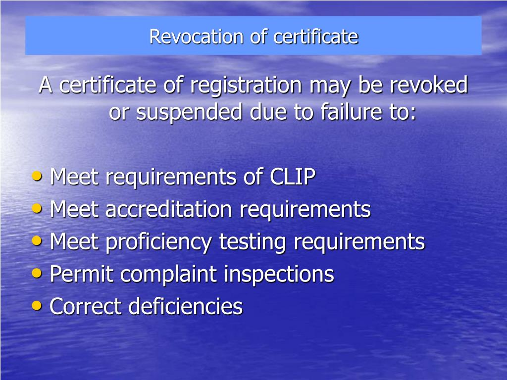 Revocation of certificate