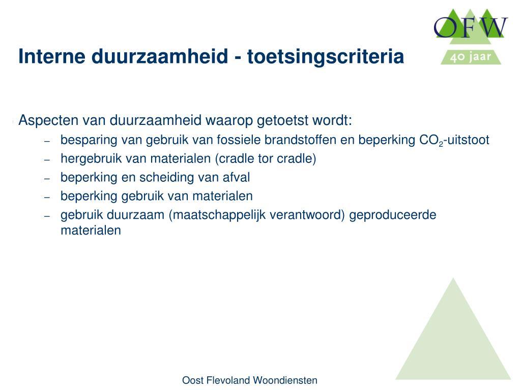 Aspecten van duurzaamheid waarop getoetst wordt: