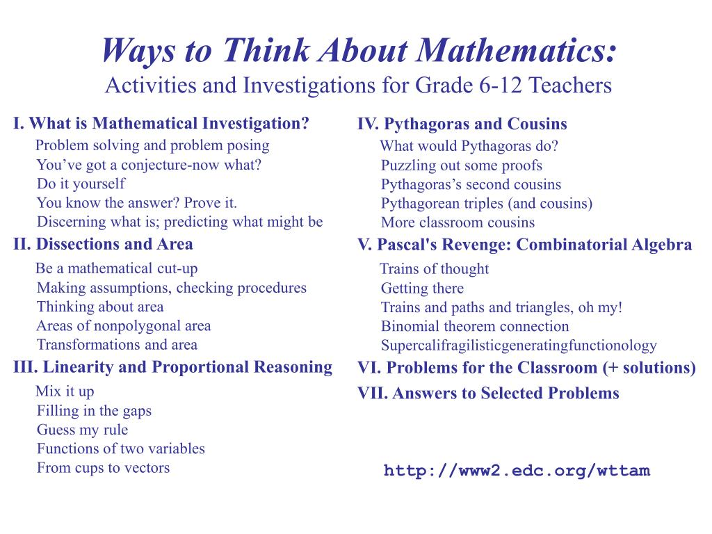 Ways to Think About Mathematics: