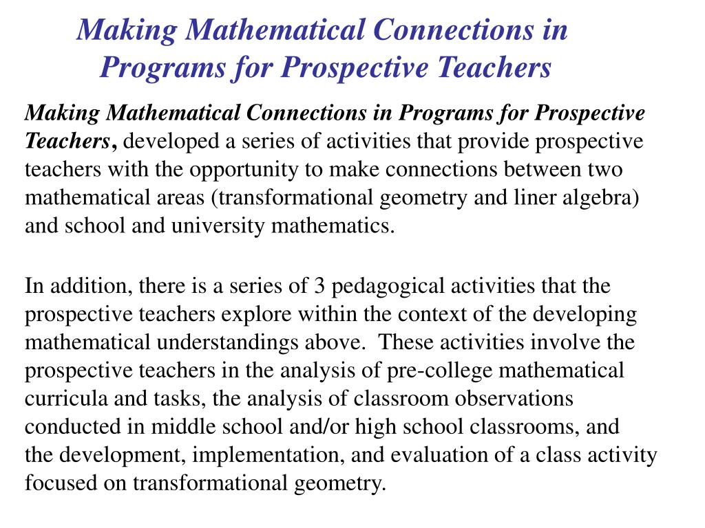 Making Mathematical Connections in
