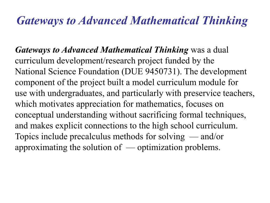 Gateways to Advanced Mathematical Thinking