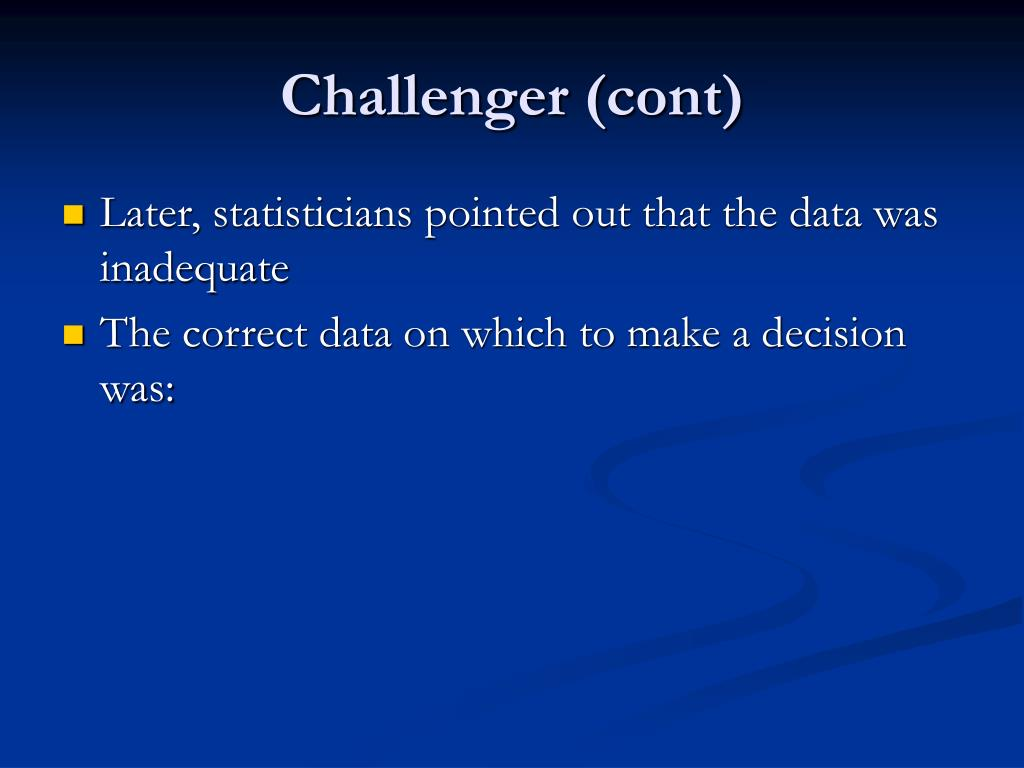 Challenger (cont)
