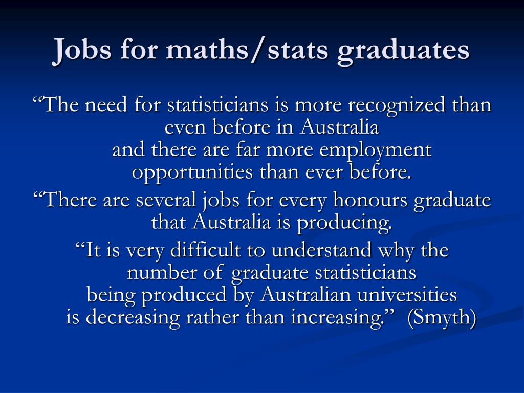 Jobs for maths/stats graduates