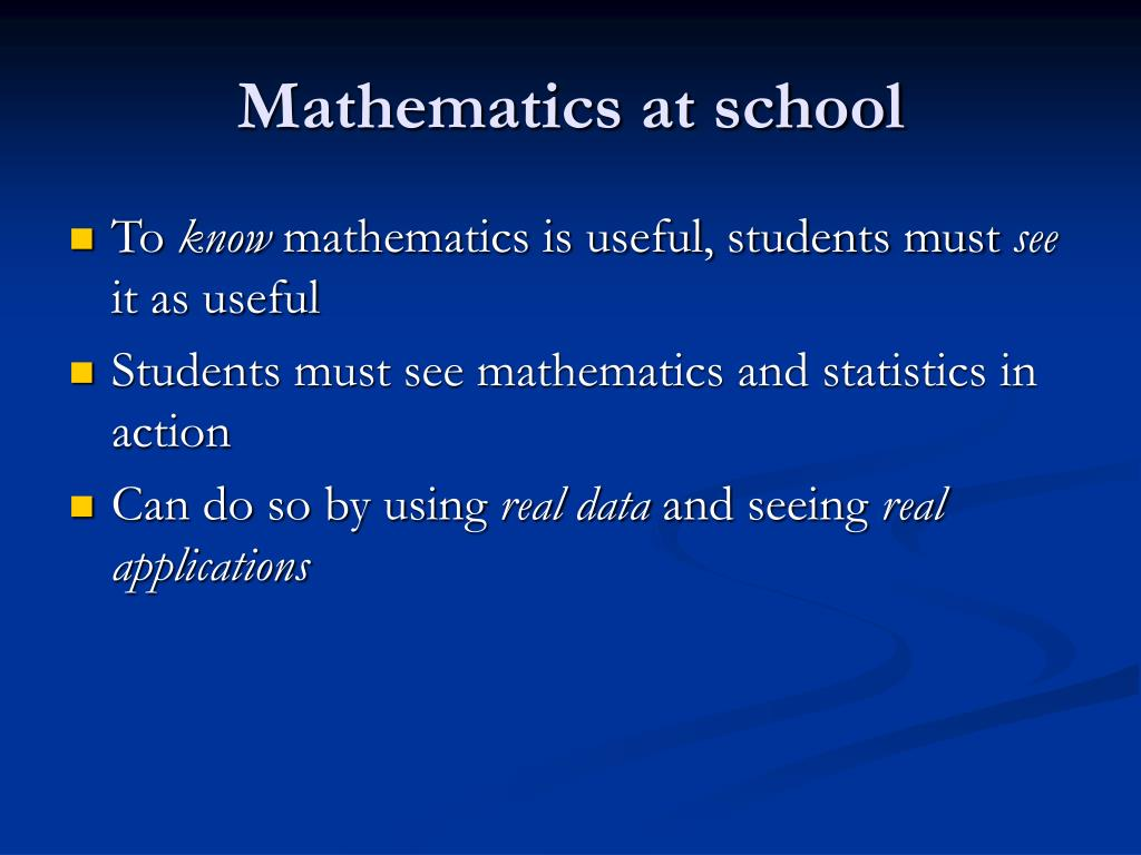 Mathematics at school