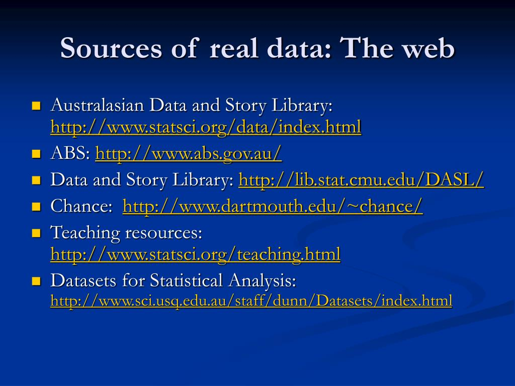 Sources of real data: The web
