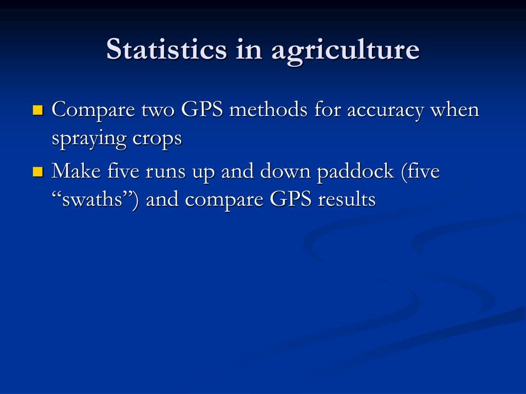 Statistics in agriculture