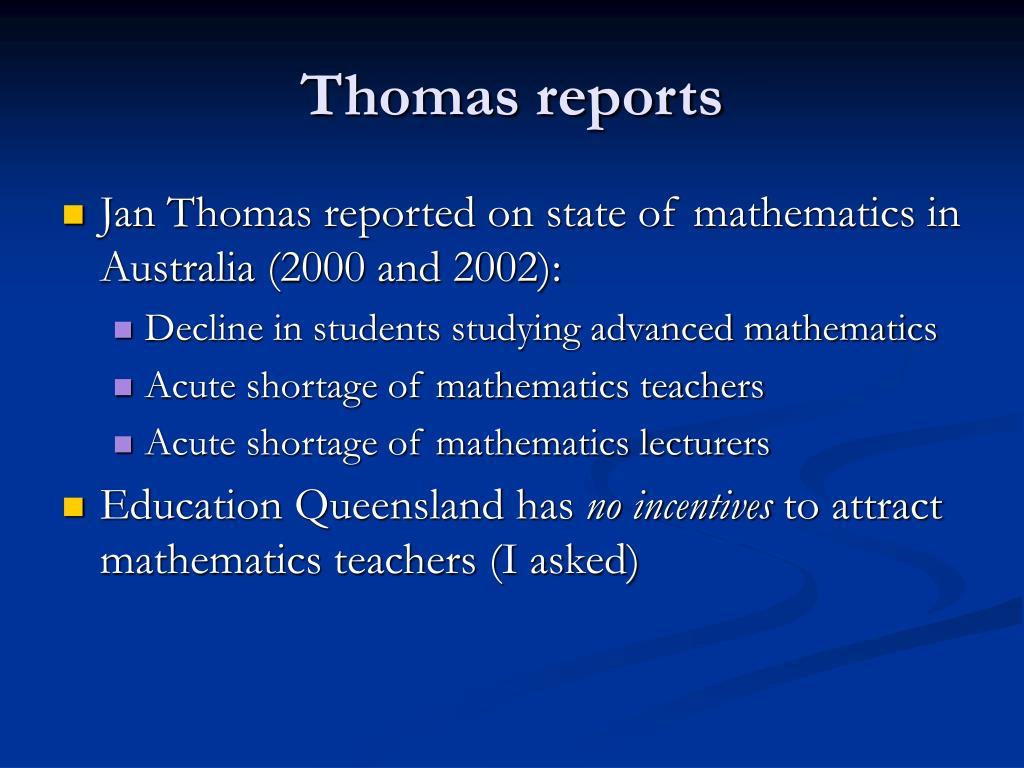 Thomas reports