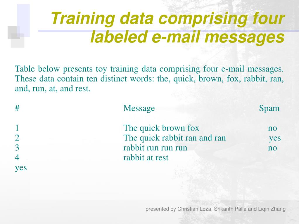 Table below presents toy training data comprising four e-mail messages. These data contain ten distinct words: the, quick, brown, fox, rabbit, ran, and, run, at, and rest.