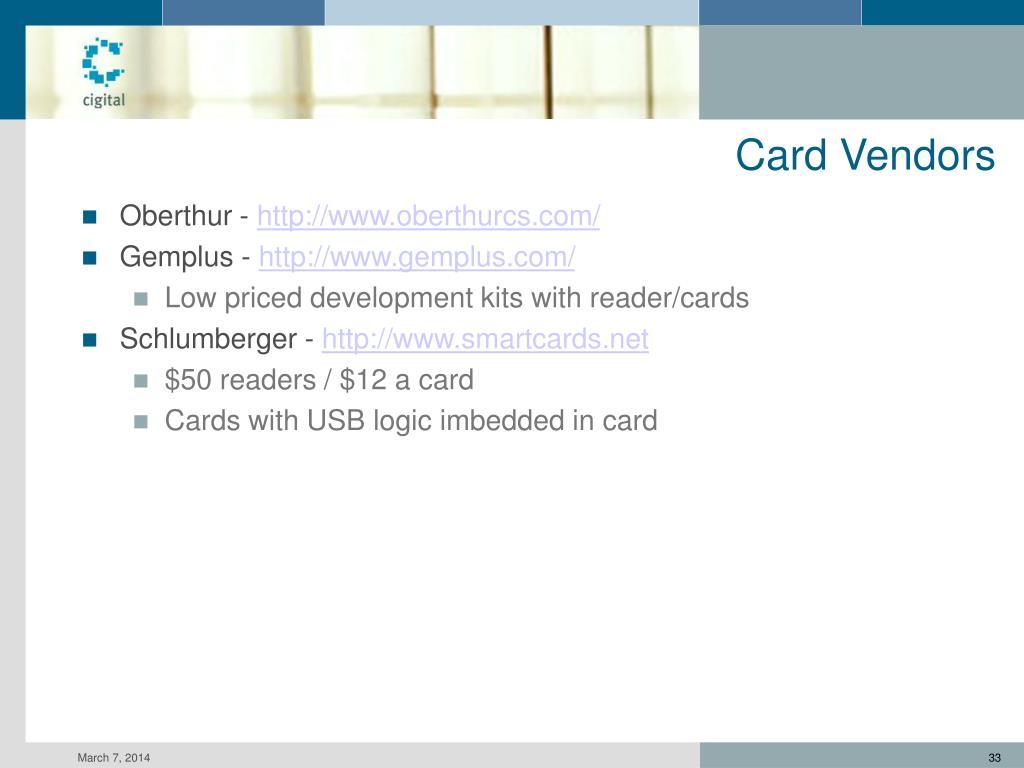 Card Vendors