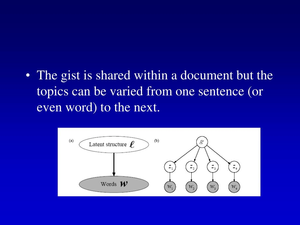 The gist is shared within a document but the topics can be varied from one sentence (or even word) to the next.