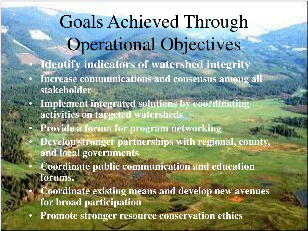 Goals Achieved Through Operational Objectives