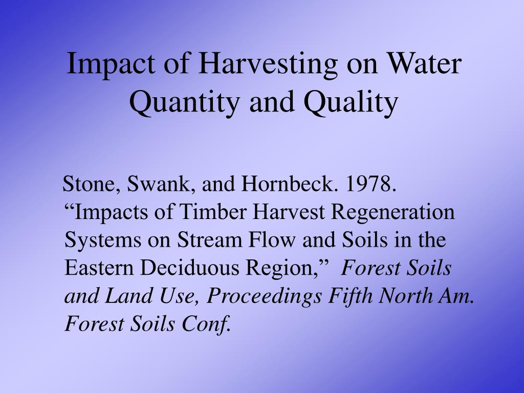 Impact of Harvesting on Water Quantity and Quality
