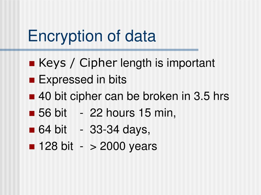 Encryption of data