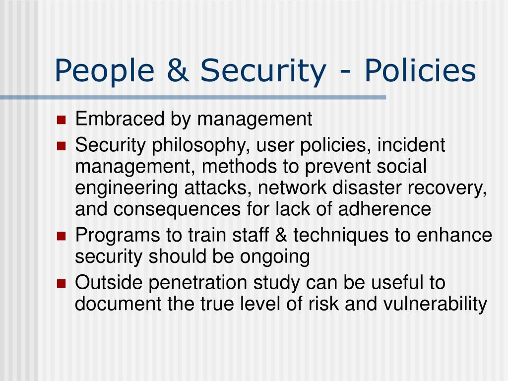 People & Security - Policies