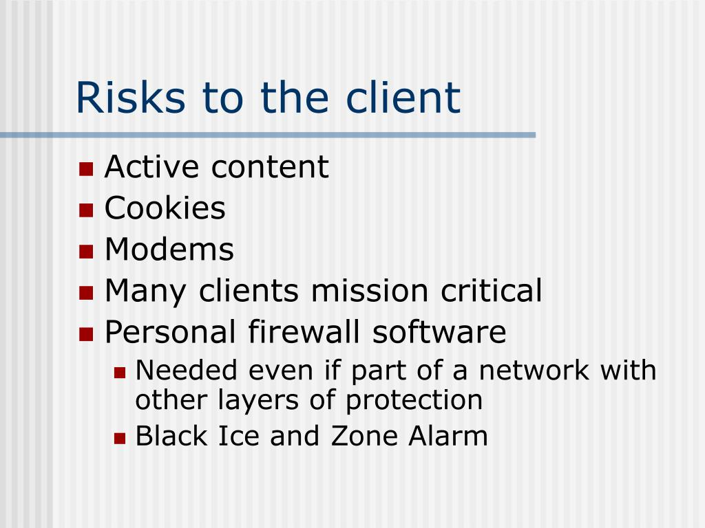Risks to the client