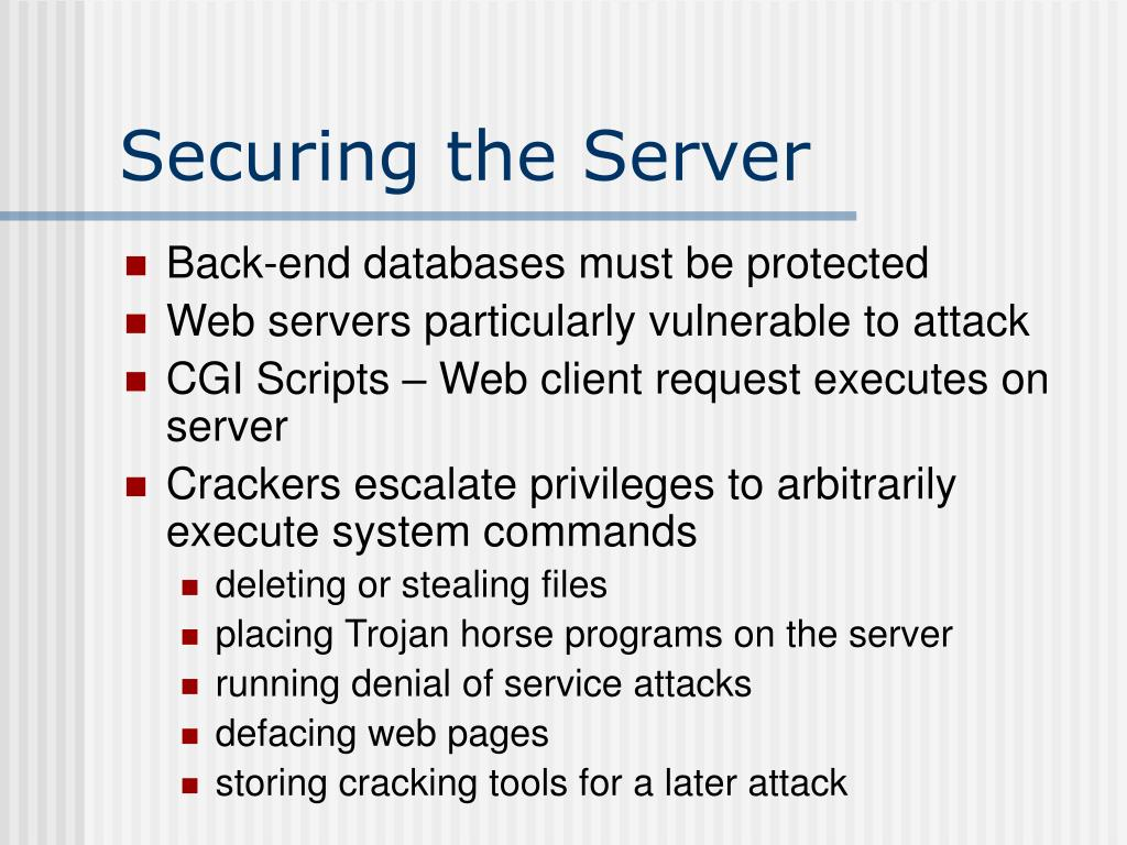 Securing the Server