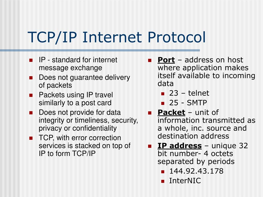 IP - standard for internet message exchange