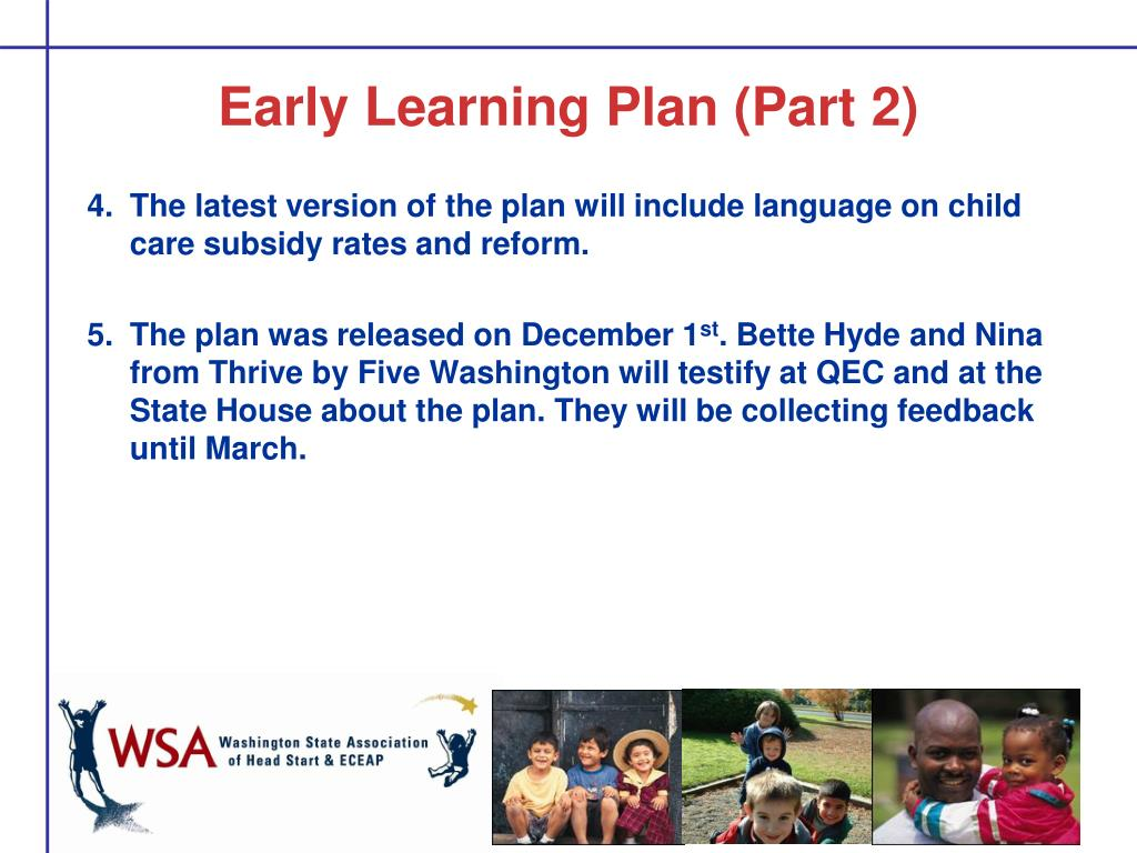 Early Learning Plan (Part 2)