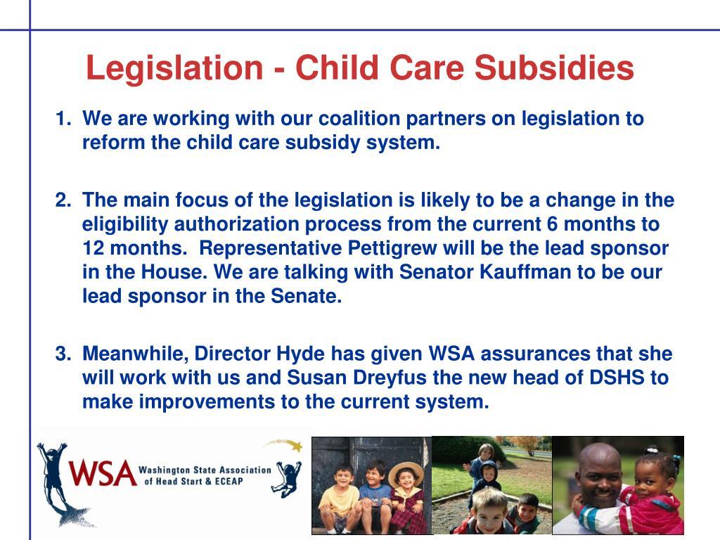 Legislation - Child Care Subsidies