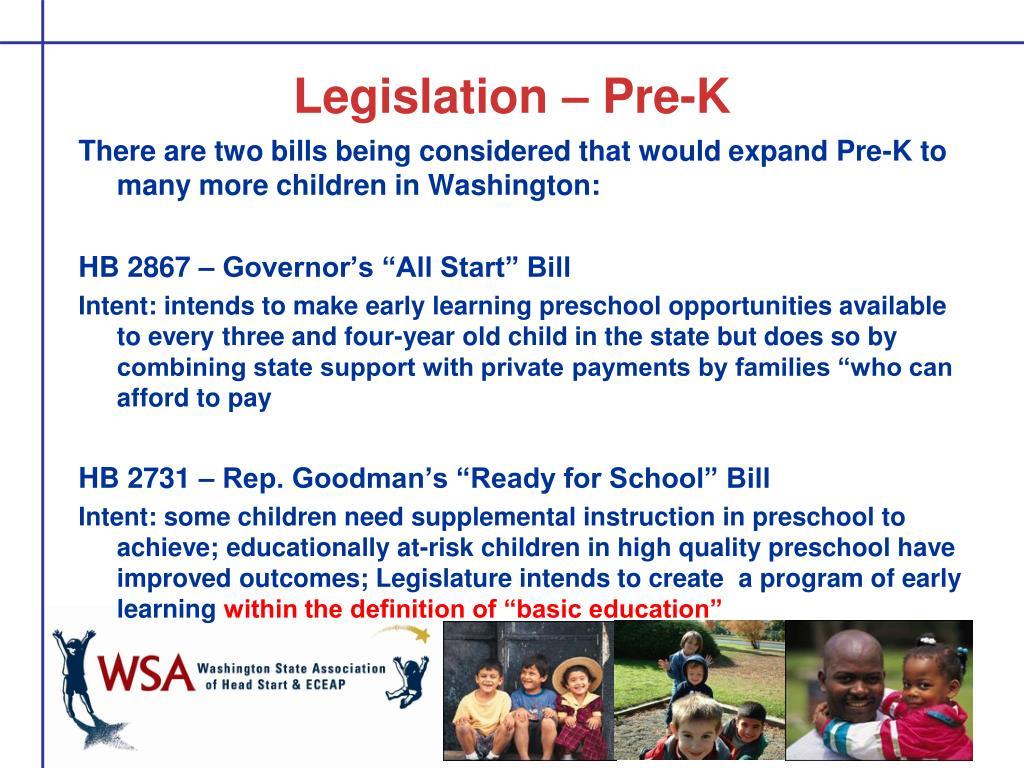 Legislation – Pre-K