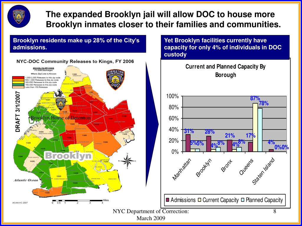 The expanded Brooklyn jail will allow DOC to house more Brooklyn inmates closer to their families and communities.