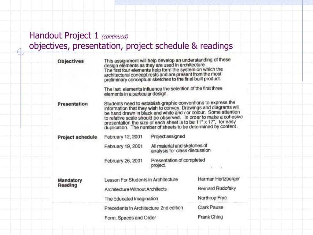 Handout Project 1