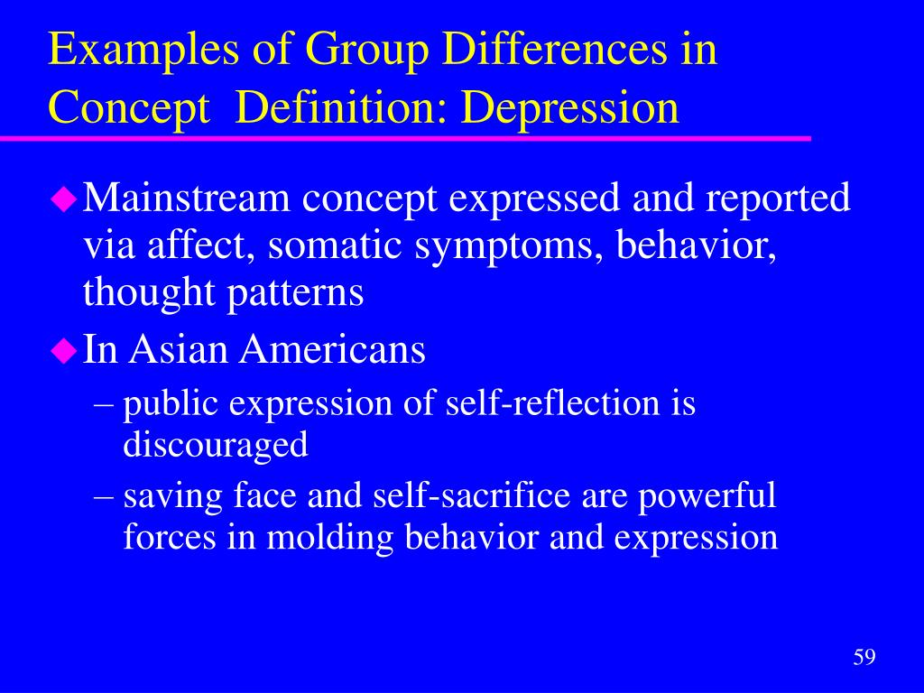 Examples of Group Differences in Concept  Definition: Depression