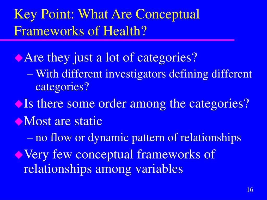 Key Point: What Are Conceptual Frameworks of Health?