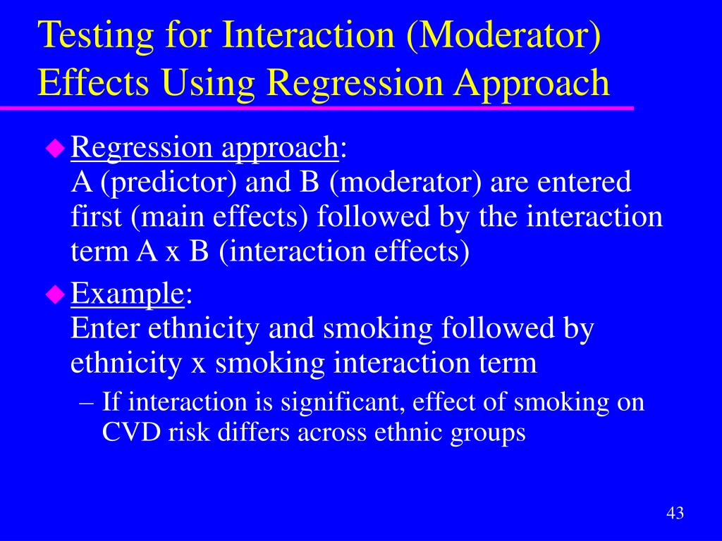 Testing for Interaction (Moderator) Effects Using Regression Approach