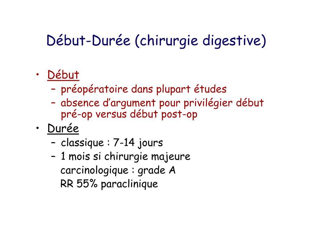Début-Durée (chirurgie digestive)