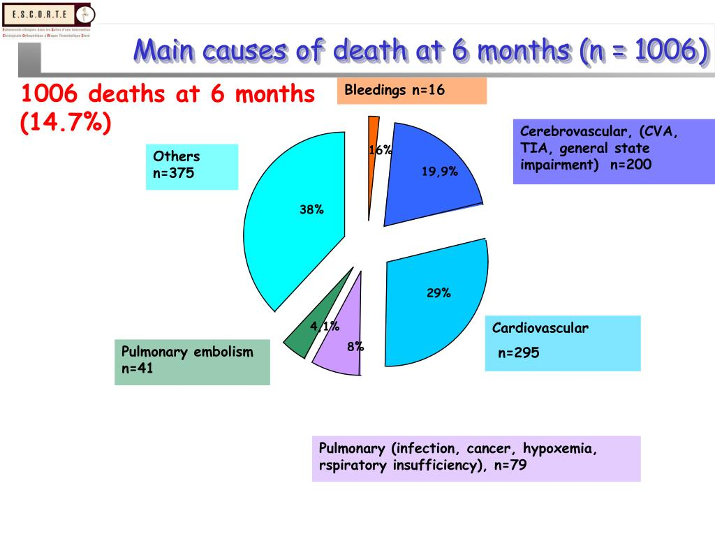 Main causes of death at 6 months (n = 1006)