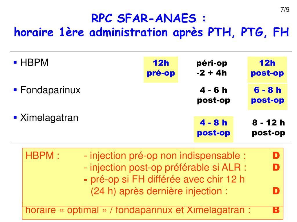 HBPM : - injection pré-op non indispensable :