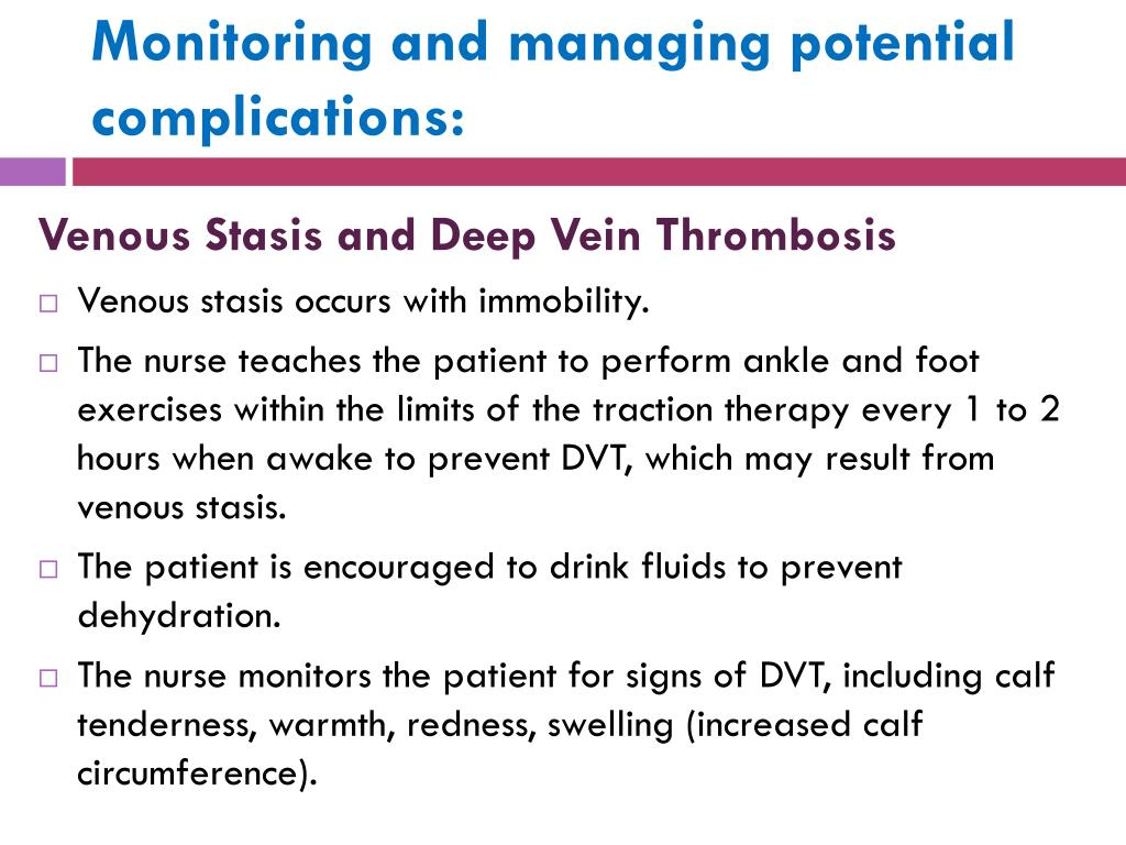 Monitoring and managing potential complications: