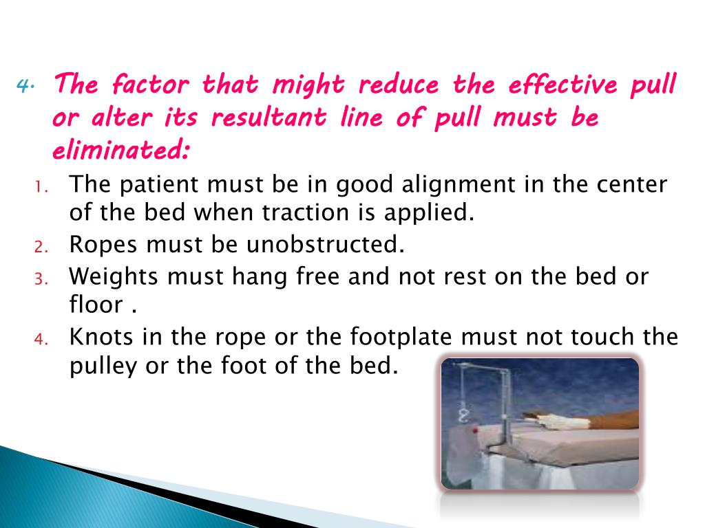 The factor that might reduce the effective pull or alter its resultant line of pull must be eliminated: