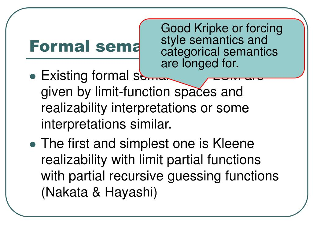 Formal semantics of LCM (1)