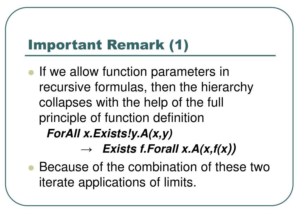Important Remark (1)