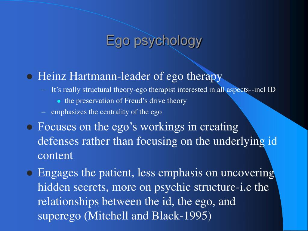 hartmann essays ego psychology Heinz hartmann essays on ego psychology new york: international universities press '1964- 'this book consists of anumber of papers bearing on psychoanalytic.