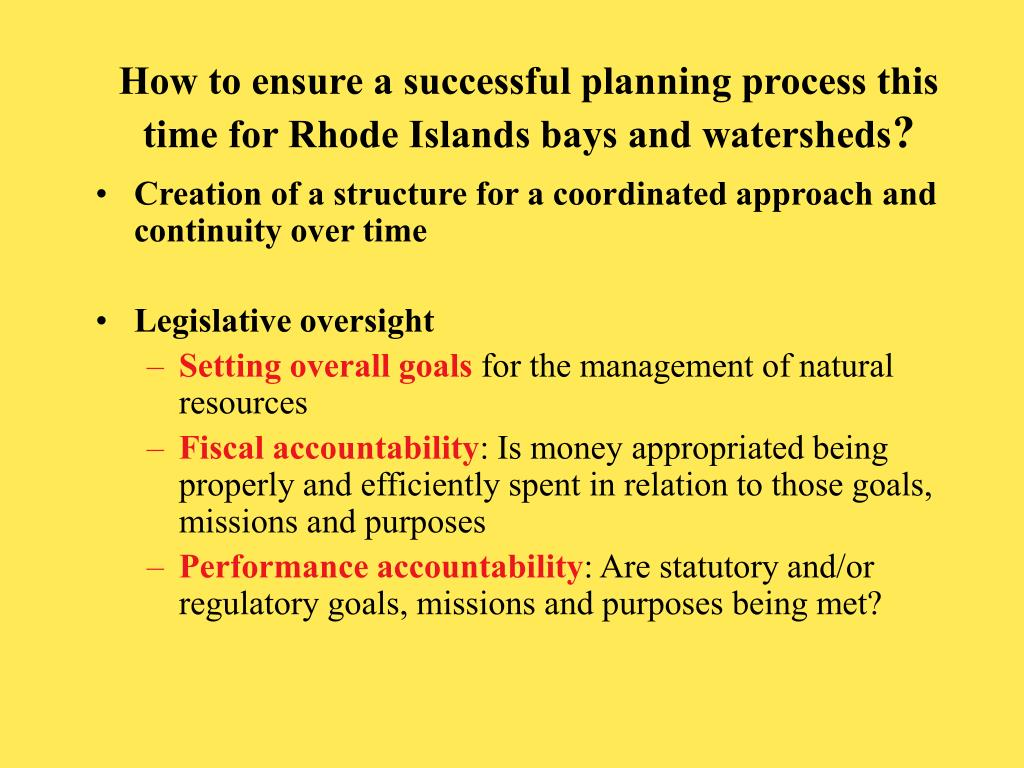 How to ensure a successful planning process this time for Rhode Islands bays and watersheds
