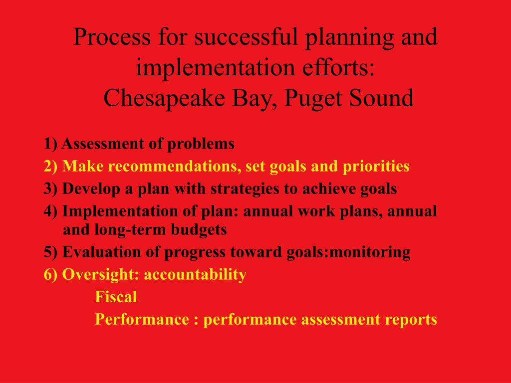 Process for successful planning and implementation efforts: