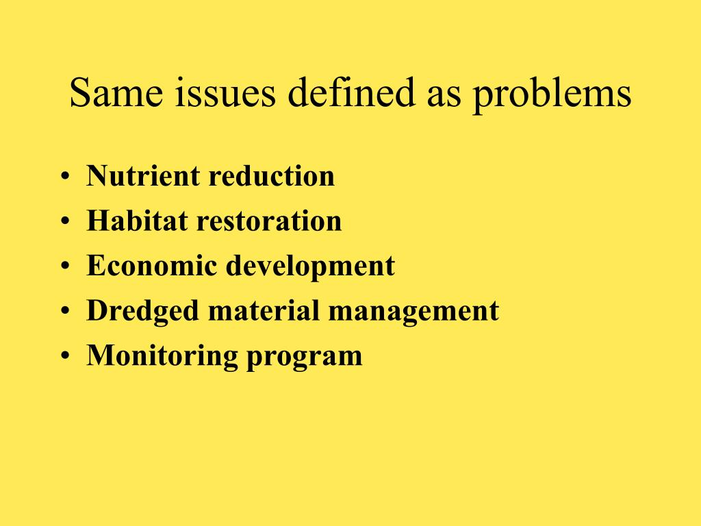 Same issues defined as problems