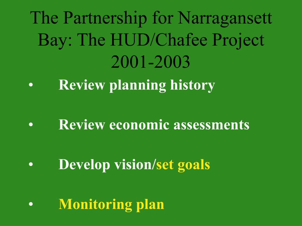 The Partnership for Narragansett Bay: The HUD/Chafee Project 2001-2003